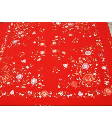 shawl 2 colors - - Manila Shawls Floral Red with Colours