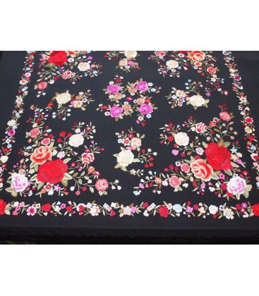 manila shawls - - Manila Shawls Floral Black with colours