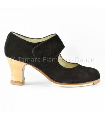 flamenco shoes professional for woman - Begoña Cervera - Velcro clack suede with visto heel side