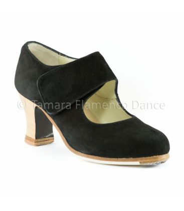 flamenco shoes professional for woman - Begoña Cervera - Velcro clack suede with visto heel front