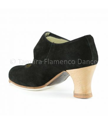 flamenco shoes professional for woman - Begoña Cervera - Velcro clack suede with visto heel back