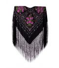 Manila Shawls - Bouquet Black with fuxia