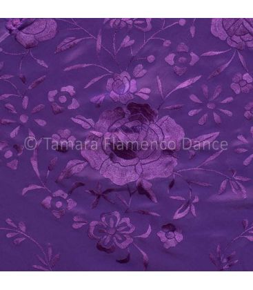 shawl 1 only colour - - Manila Shawls Floral Purple with white