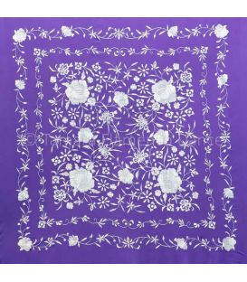 shawl 2 colors - - Manila Shawls Floral Purple with Ivory