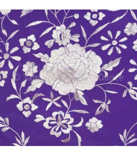 Manila Shawls Floral Purple with Ivory