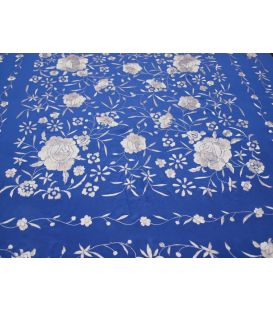 Manila Shawls Floral - blue stewardess with Ivory