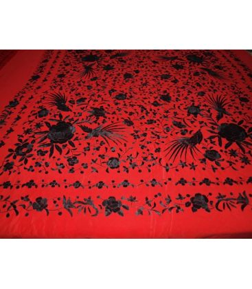 manila shawls - - Manila Shawls Floral Red with Black