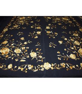 Manila Shawls - Black with gold