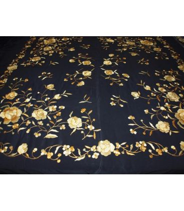 manila shawls - - Manila Shawls Black with gold