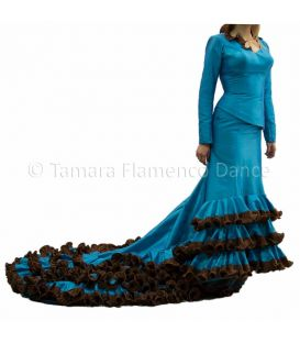 tailed gown bata de cola - Vestidos de flamenco a medida / Custom flamenco dresses - Turquoise Dress Tailed Gown