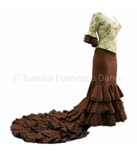 tailed gown bata de cola - Vestidos de flamenco a medida / Custom flamenco dresses - Brown/Beig Dress Tailed Gown
