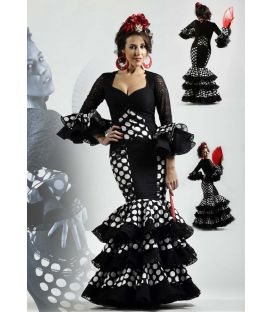 flamenco dresses 2016 - Roal - Alborea black with white polka dots
