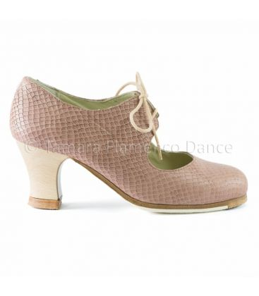in stock flamenco shoes professionals - Begoña Cervera - Cordonera snake rose leather