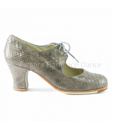 in stock flamenco shoes professionals - Begoña Cervera - Cordonera snake grey leather