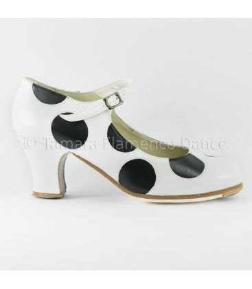 flamenco shoes professional for woman - Begoña Cervera - Lunares white with black polka dots