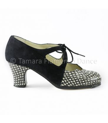 flamenco shoes professional for woman - Begoña Cervera - Dulce black suede with snake leather