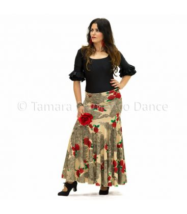flamenco skirts for woman - - Granada - Knitted beige with flowers