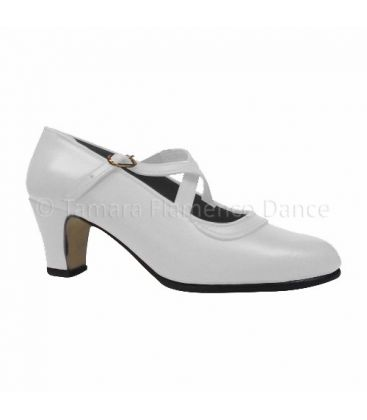 trainning flamenco shoes semiprofessional - - Semiprofessional Basic Crossed - white Leather TAMARA
