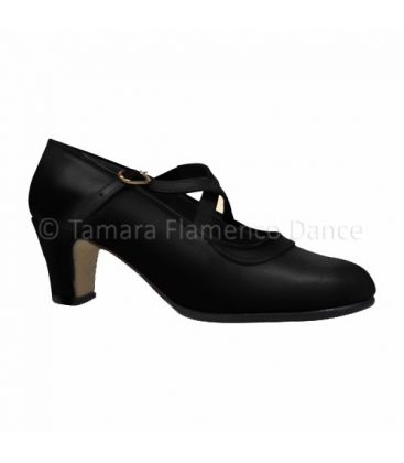 trainning flamenco shoes semiprofessional - - Semiprofessional Basic Crossed - black Leather TAMARA