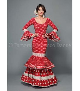 woman flamenco dresses 2016 - Aires de Feria - Maestranza red with white polka dots