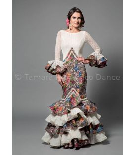 woman flamenco dresses 2016 - Aires de Feria - Veronica white and printed