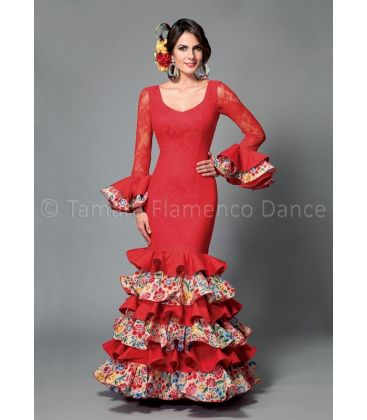 woman flamenco dresses 2016 - Aires de Feria - Dalia red & flowers