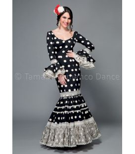woman flamenco dresses 2016 - Aires de Feria - Paseo black with white poka dots