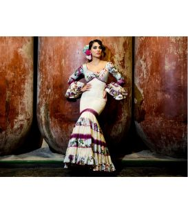 woman flamenco dresses 2016 - Aires de Feria - Soleares beige and cardinal artistic photo