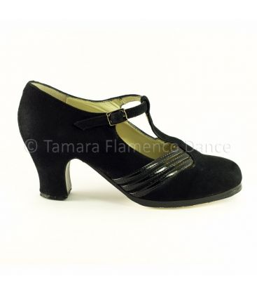 in stock flamenco shoes professionals - Begoña Cervera - Class black patent leather and suede