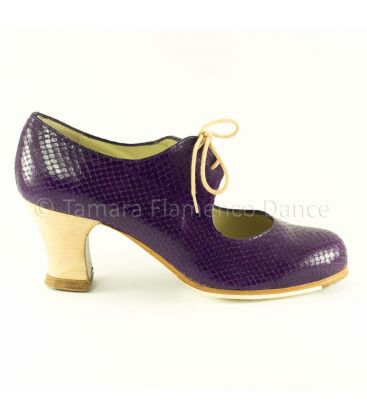 flamenco shoes professional for woman - Begoña Cervera - Cordonera purple snake leather