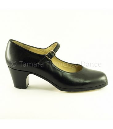 flamenco shoes professional for woman - Begoña Cervera - Correa black leather 5 cm