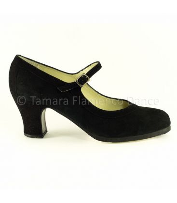 in stock flamenco shoes professionals - Begoña Cervera - Salon Correa black suede carrete heel