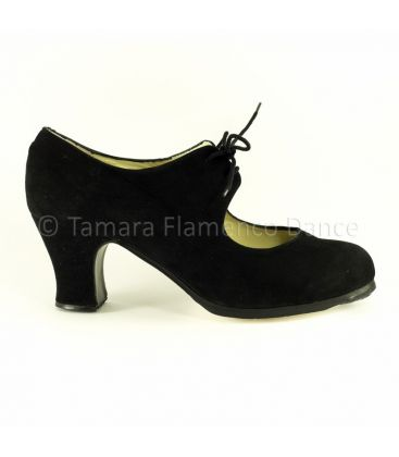 flamenco shoes professional for woman - Begoña Cervera - Cordonera black suede carrete heel