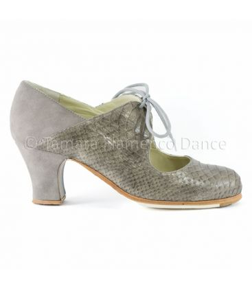 in stock flamenco shoes professionals - Begoña Cervera - Arty snake & suede grey