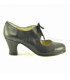 Cordonera black leather carrete heel