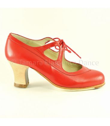 flamenco shoes professional for woman - Begoña Cervera - Candor red leather wood heel