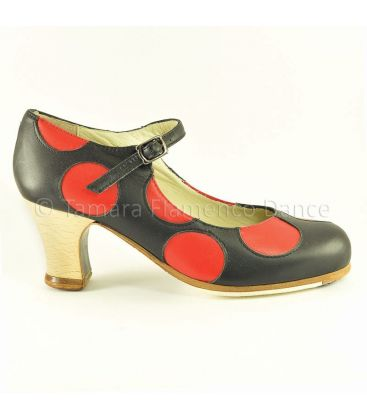 in stock flamenco shoes professionals - Begoña Cervera - Lunares black leather with red polka dots and wood heel