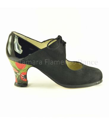 flamenco shoes professional for woman - Begoña Cervera - Arty black suede with patent leather details and parrots handpainted heel