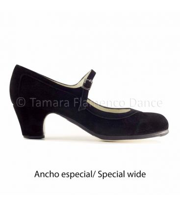 in stock flamenco shoes professionals - Begoña Cervera - Salon Correa black suede classic 5 cm heel special wide