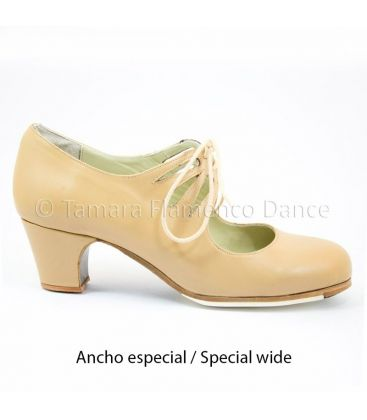 in stock flamenco shoes professionals - Begoña Cervera - Cordonera Calado beige leather special wide 5 cm classic heel