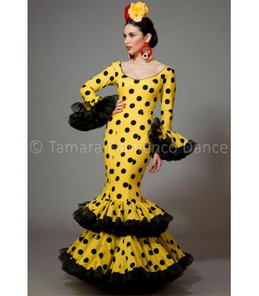 woman flamenco dresses 2016 - Aires de Feria - Copla yellow black polka dots