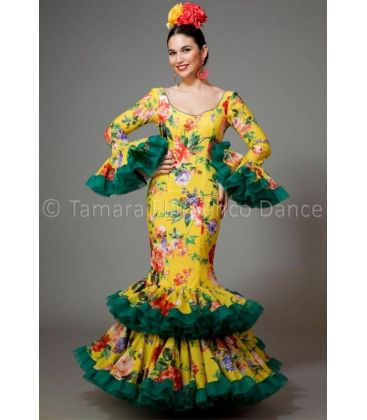 woman flamenco dresses 2016 - Aires de Feria - Copla yellow and green with printed flowers