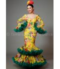 Copla yellow and green with printed flowers
