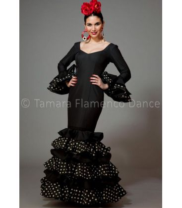 woman flamenco dresses 2016 - Aires de Feria - Dalia black with white polka dots