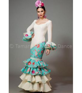 woman flamenco dresses 2016 - Aires de Feria - Luna white and sea green with flowers