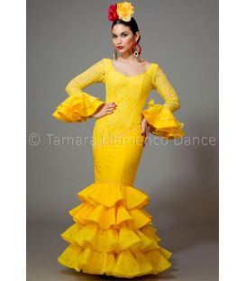 woman flamenco dresses 2016 - Aires de Feria - Luna yellow lace