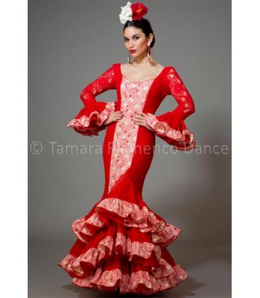 woman flamenco dresses 2016 - Aires de Feria - Manuela red lace & printed