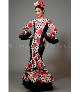 woman flamenco dresses 2016 - Aires de Feria - Pasarela black white with polka dots & flowers