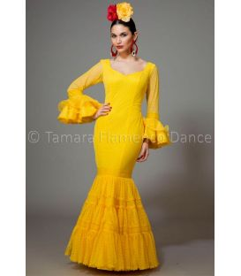 woman flamenco dresses 2016 - Aires de Feria - Paseo yellow plumeti