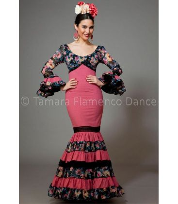 woman flamenco dresses 2016 - Aires de Feria - Soleares fucsia & black with floers